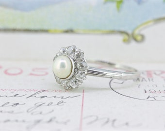 Antique 1910s Engagement Ring   Pearl and Diamond Halo Ring   Edwardian Ring   Platinum Wedding Ring   Vintage Cluster Ring   Size 6
