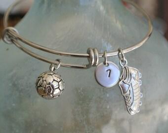 Soccer bracelet, soccer charm, soccer cleat, personalized number.  Soccer team gift, Stainless Steel Bracelet