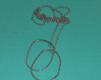 Architectural Free Form Circle  Necklace, Sterling Silver