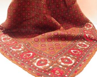 "Vintage Silk Scarf 24"" Square Hand-Rolled Hem Brown Red Green Handkerchief Print"