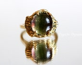 Bicolor Fluorite Ring size 5.25/One of a Kind Green and Purple Fluorite Ring/Rainbow Fluorite Ring Ready to Ship/Bicolor Ring