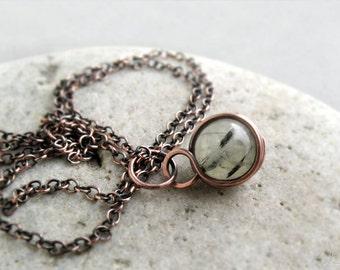 Prehnite Wire Wrapped Pendant, Unconditional Love Stone, Heart Chakra, Sterling Silver, Copper, Simple Minimalist, delicate, feminine, green