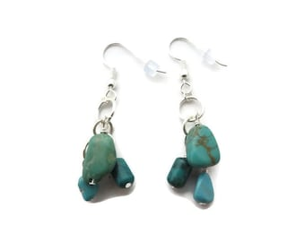 Turquoise Dangle, Turquoise Cluster Earring, Turquoise Drop, Green Turquoise Earring, Southwest, Chunky Turquoise, Long Turquoise Earring