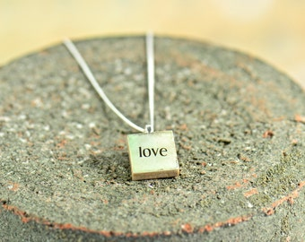 Love Inspirational Charm Necklace, Teacher Gift, Gift Ideas for Women, Motivational Jewelry, Made in USA