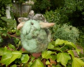 Felt Troll doll miniature.Mascot Pocket monster Goblin friend.Nordic,Swedish elf,Fairy.OOAK.Scandinavian.Hand felted,rare fleece.Natural dye