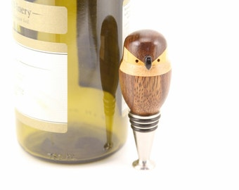 Standing Wine Bottle Stopper Wooden Owl Segmented Lathe Turned Wood: Walnut, Jatoba, Yellowheart, Maple, Blackwood Beak  Junction Trade