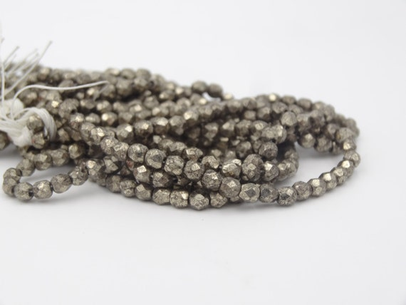 Czech Glass 3mm Fire Polish Antique Silver  50 Pieces