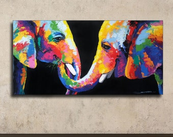 Colorful Elephant Painting-60×120cm
