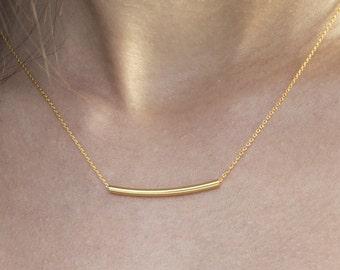 SOLID GOLD  necklace, Bar necklace,  Floating bar necklace,  Solid gold bar necklace, Treandy bar necklace,  Rose necklace