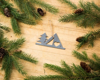 Love Camping Christmas Ornament Rustic Metal Ornament Recycled Steel Holiday Gift Industrial Decor Wedding Favor