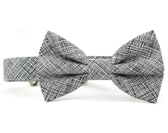 Black and White Dog Bow Tie Collar Crosshatch Grid Plaid Wedding Dog Bowtie Collar