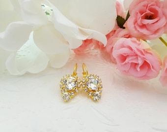 Boho Bride Earrings, Bohemian Wedding Earrings, Diamond Like Earrings, Swarovski, Bridal Earrings, Bridal Crystals, Gold Earrings, E3361