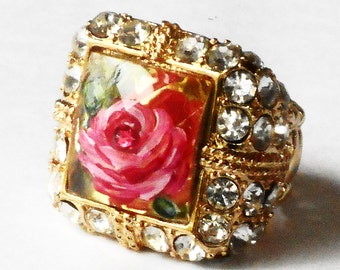 Rhinestone Rose Ring Painted Romantic Vintage Style Victorian Jewelry FREE SHIPPING