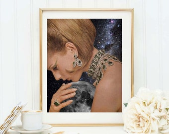 Moon print - Moon poster - Surreal collage art - Univeerse