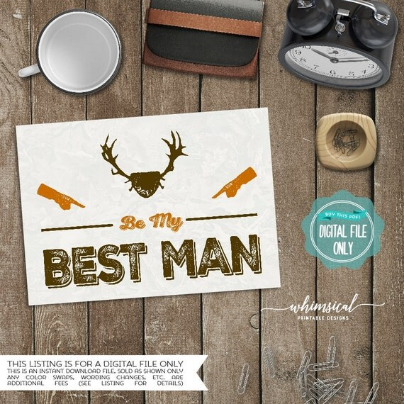 ask best man card camo printable file only will you be my best