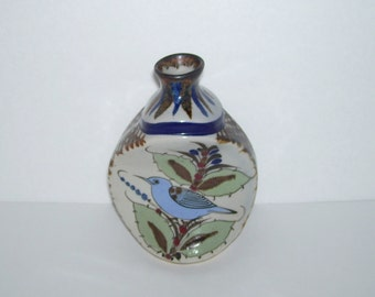 Ken Edwards Mexico Pottery Pinched Vase with Blue Bird
