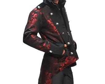 Steampunk Mens Brocade Tails Jacket