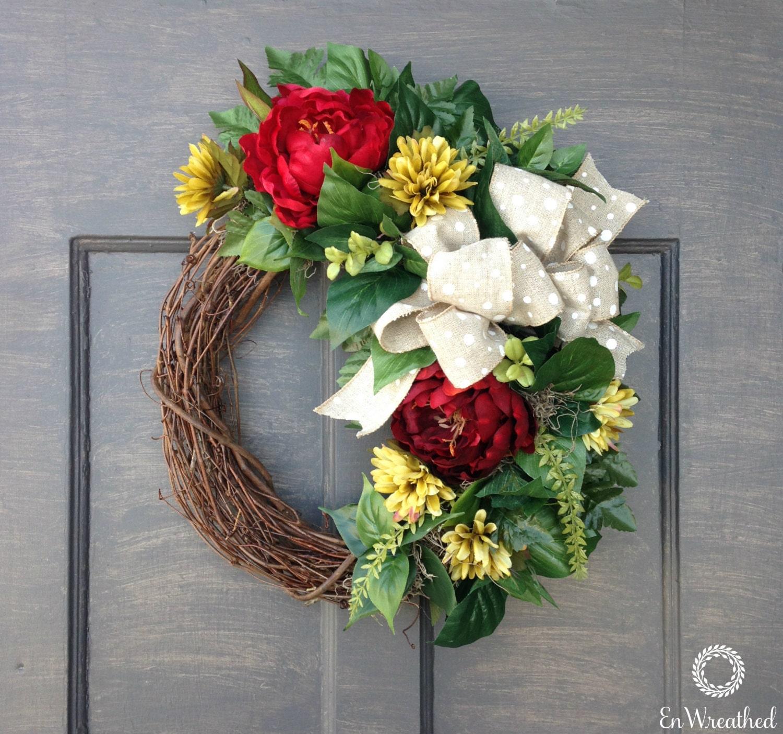 spring front door wreath outdoor door wreath front door. Black Bedroom Furniture Sets. Home Design Ideas