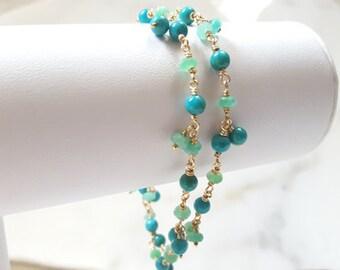 Multi Strand Gemstone Layered Stacking Bracelet Turquoise Chrysoprase 14K GF Blue Green Dangle Charm Beach Jewelry Fine Jewelry Life Bijou