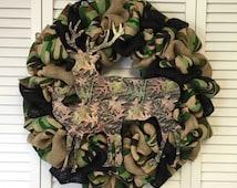 Camouflage Wreath, Camo Wreath, Burlap Wreath, Hunting Wreath, Hunters Decor, Camo Decor