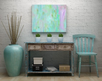 """Original Abstract Painting, Turquoise Gold Pink Green Contemporary Fine Wall Art, 18"""" x 24"""" Modern Home Decor on Canvas by Jimarieart"""