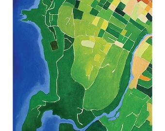 Beacon Map print 11 x 14, Beacon NY, Hudson Valley, map painting