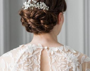 Myrtle Leaf Comb, silver headpiece, bridal comb, myrtle tiara, bridal headpiece, bridesmaid gift, bohemian, wedding comb, woodland #207