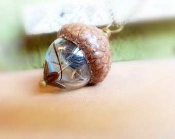 Acorn necklace gift Dandelion necklace Acorn pendant gift Real seeds in sky blue glass orb pendant Dandelion jewelry Woodland wedding gift
