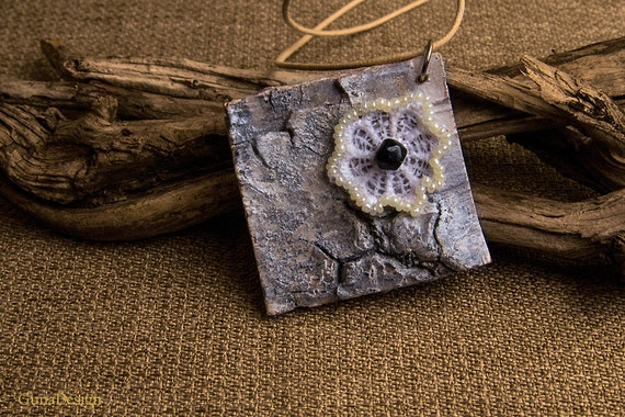 White Washed Birch Bark Pendant with Lace and Bead