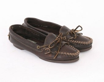 Ralph Lauren Country Womens 7 Dark Brown WOVEN Leather Moc Toe Moccasin Loafers Slip On Flats Boat Designer Vintage Made USA Au 6.5 Shoes