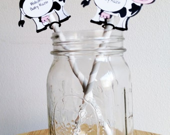 24 Cow Straw Flags for Baby Shower