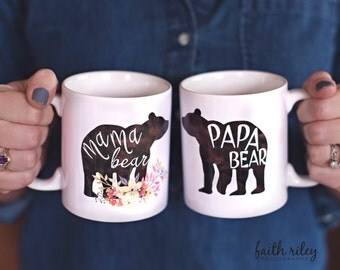 Mama & Papa Bear Mug Set | Pregnancy Reveal Mugs | Mom Mug | Dad Mug | Father's Day Gift | 11 or 15 oz mugs | New Parent | Baby Shower Gift