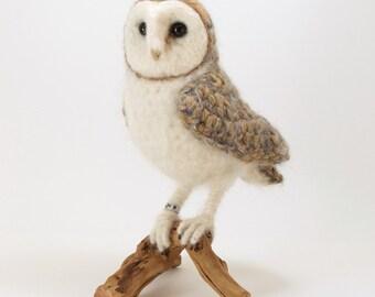 Barn Owl realistic fibre art bird sculpture