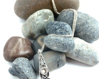 Art Nouveau Necklace - Repurposed Jewelry - Sterling Silver - Onyx