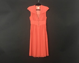 Orange Silk Spring Burnout Dress