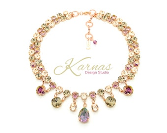 BOYSENBERRY Mixed Size Crystal Statement Necklace Made With Swarovski Elements *Pick Your Finish *Karnas Design Studio *Free Shipping