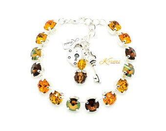 HARVEST DELIGHT 8mm Crystal Bracelet Made With Swarovski Elements *Pick Your Finish *Karnas Design Studio *Free Shipping*
