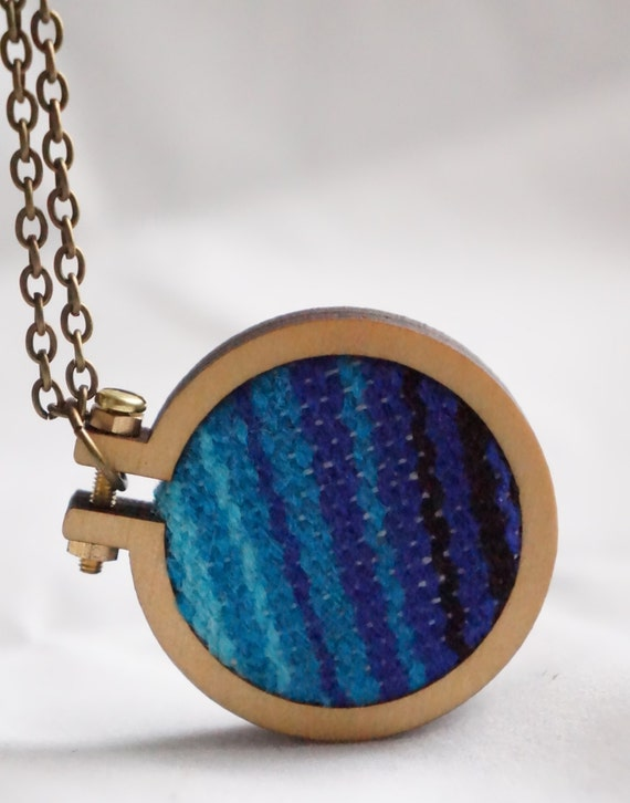 Mini Embroidery Hoop Necklace // Striped Serape // Mexican