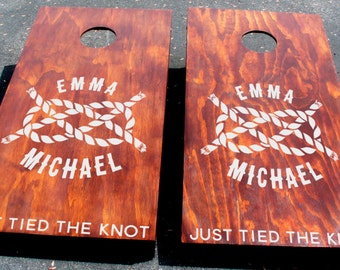 Wedding Nautical Cornhole Board Decals - Just Tied the Knot Custom Cornhole Decal
