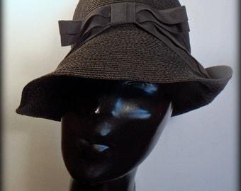 Evelyn Varon True Vintage 40's/50's Black Straw Cloche Women's Hat Sz M-L