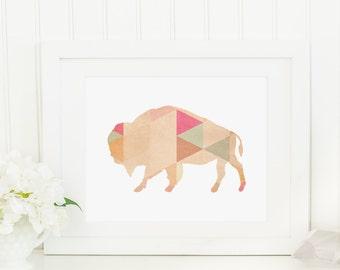 Buffalo Print, Printable Art Print, Bison Wall Art, Gold Triangle, Pastel Triangle Print, Nursery, Geometric Buffalo Art, Tribal Print