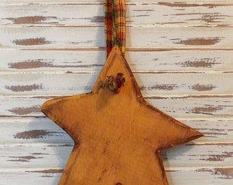 Primitive Hanging Star, Wood, Yellow, Gold
