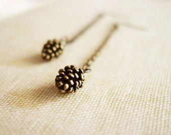 Long Pine Cone Dangle Earrings, Antique Bronze Pinecone Dangles