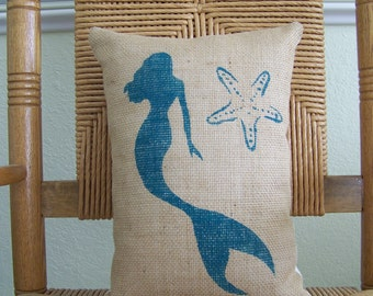 Mermaid starfish pillow, Beach decor Ocean pillow, Burlap pillow, Coastal pillow, Stenciled sea life pillow, Nautical pillow, FREE SHIPPING!