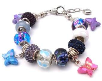 Multicolor Butterfly European Style Charm Bracelet