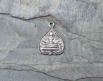 Tibetan Buddha Charm Pendant Antique Silver Pewter C146,silver buddha charm,lotus pose,buddha pendant,meditation pendant,buddhist pendant,