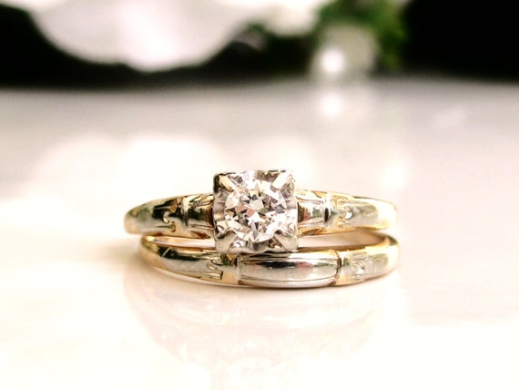 Art Deco Engagement Ring Set Transitional Cut Diamond 14K Two