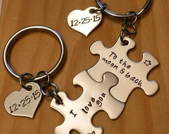 Hand Stamped Keychain - Couples Puzzle Piece Keychains - I Love you to the moon and back - Personalized Keychain