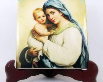Madonna and Child - religious art - catholic icon on ceramic tile - handmade in Italy - virgin mary art - catholic gift idea - Hans Zatzka