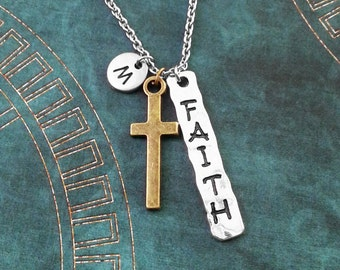 Cross Necklace Silver Cross Charm Necklace Cross Jewelry Christian Jewelry Easter Jewelry Christian Necklace Jesus Cross Faith Necklace